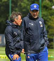 Football - 2018 / 2019 season - Chelsea Media Open Day pre-Europa League Final<br /> <br /> Chelsea manager Maurizio Sarri with coach, Gianfranco Zola, at Chelsea FC Cobham Training Ground, Stoke d'Abernon.<br /> <br /> COLORSPORT/ANDREW COWIE