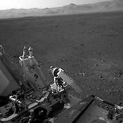 This full-resolution image shows part of the deck of NASA's Curiosity rover taken from one of the rover's Navigation cameras looking toward the back left of the rover.