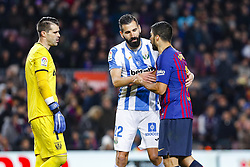 January 20, 2019 - Barcelona, Spain - Ivan Cuellar (1) of CD Leganes, Dimitris Siovas (22) of CD Leganes and Luis Suarez (9) of FC Barcelona during the match FC Barcelona against CD Leganes, for the round 20 of the Liga Santander, played at Camp Nou  on 20th January 2019 in Barcelona, Spain. (Credit: Mikel Trigueros/Urbanandsport / NurPhoto) (Credit Image: © Mikel Trigueros/NurPhoto via ZUMA Press)