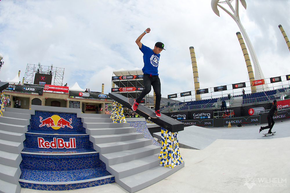 Nyjah Huston during Men's Skate Street League Practice at the 2013 X Games Barcelona in Barcelona, Spain. ©Brett Wilhelm/ESPN