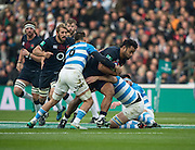 Twickenham, United Kingdom, Billy VUNIPOLA, running, with the ball, during the Old Mutual Wealth Series, Test Match: England vs Argentina, at the RFU Stadium, Twickenham, England, <br /> <br /> Saturday  26/11/2016<br /> <br /> [Mandatory Credit; Peter Spurrier/Intersport-images]