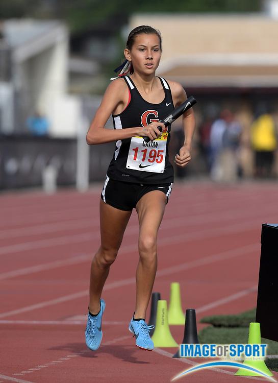 Tori Gaitan (1195) runs the anchor leg on the Great Oak girls 4 x 800m relay that won in 9:05.34 during the 51st Arcadia Invitational in Arcadia, Calif., Friday, April 6, 2018.