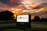 The sun sets on the FAMU-FSU College of Engineering on Pottsdamer St in Tallahassee, Florida.