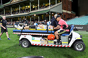 Ruben Love leaves the field on the medicart. Waratahs v Hurricanes. 2021 Super Rugby Trans Tasman Round 1 Match. Played at Sydney Cricket Ground on Friday 14 May 2021. Photo Clay Cross / photosport.nz