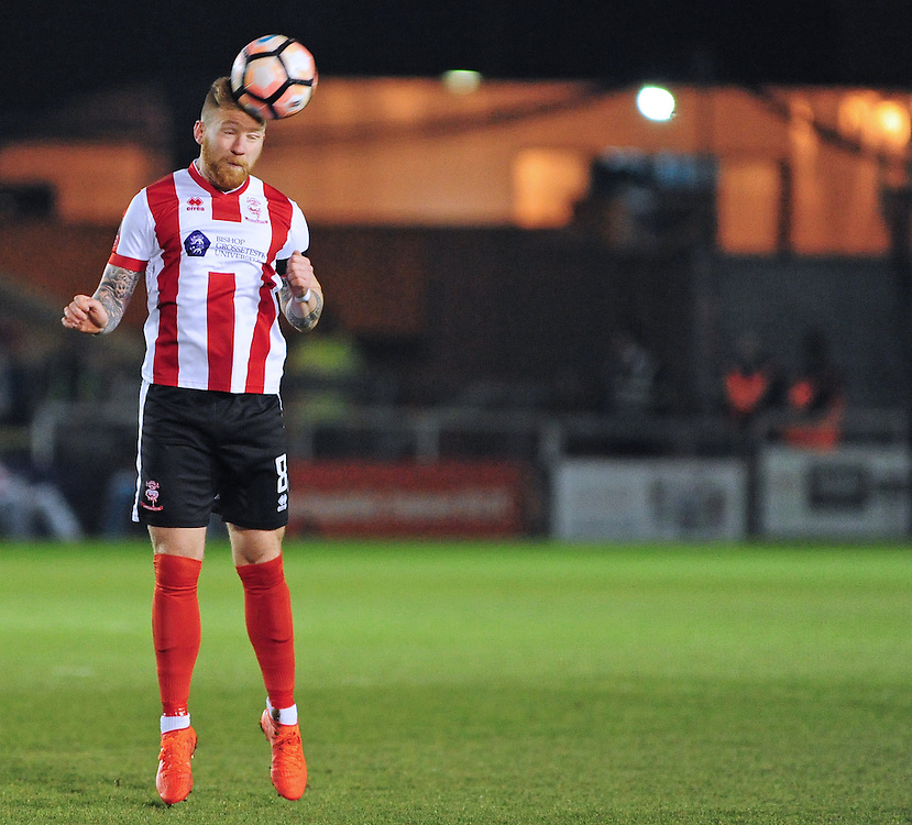 Lincoln City's Alan Power<br /> <br /> Photographer Andrew Vaughan/CameraSport<br /> <br /> Emirates FA Cup Third Round Replay - Lincoln City v Ipswich Town - Tuesday 17th January 2017 - Sincil Bank - Lincoln<br />  <br /> World Copyright © 2017 CameraSport. All rights reserved. 43 Linden Ave. Countesthorpe. Leicester. England. LE8 5PG - Tel: +44 (0) 116 277 4147 - admin@camerasport.com - www.camerasport.com