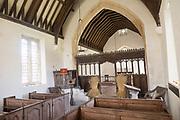 Interior church of Saint Nicholas, Berwick Bassett, Wiltshire, England, UK