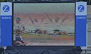 Vienna AUSTRIA.  AUT LM4-  Helfried JURTSCHITSCH, Bernd WAKOLBINGER, Martin KOBAU, Wolfgang SIGL, celebrate on the big screen after winning the final of the lightweight Men's Four. 2000 FISA World Cup. 2nd Round. Vienna Neue Donau Rowing Course  [Mandatory Credit. Peter Spurrier/Intersport Images]