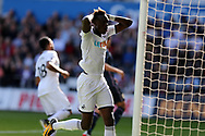 Tammy Abraham of Swansea reacts after missing a close range chance to score. Swansea city v Sampdoria , pre-season friendly at the Liberty Stadium in Swansea, South Wales on Saturday August 5th 2017.<br /> pic by Andrew Orchard, Andrew Orchard sports photography.