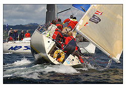 The third days racing at the Bell Lawrie Yachting Series in Tarbert Loch Fyne ..Perfect conditions finally arrived for competitors on the three race courses...1354C Jezebel in Class 3 - broaches prior to the Gybe.
