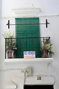 For sale sign on house in Vejer de la Frontera, Cadiz Province, Spain