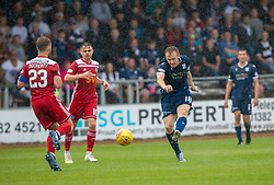 Ayr United's Ross Docherty and Dundee's Danny Johnson. Dundee 1 v 0 Ayr United, Scottish Championship game played 10/8/2019.