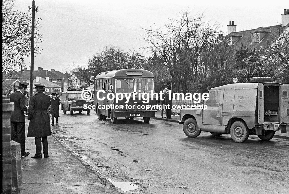 One man died and 4 others were injured out of a total of 14 when a grenade was thrown into this bus at Kingsway Park, Dundonald, N Ireland, UK. The bus was carrying building workers to the site of a new Roman Catholic primary school.  The bus was halted to allow a limping youth cross the road. The youth was in fact Albert Ginger Baker, member of a UDA gang, who was jailed for his part in the killing of Patrick Eugene Heenan, a married father of 5, from Andersonstown. 197302010073b.<br /> <br /> Copyright Image from Victor Patterson, Belfast, UK<br /> <br /> t: +44 28 9066 1296 (from Rep of Ireland 048 9066 1296)<br /> m: +44 7802 353836<br /> e: victorpattersonbelfast@gmail.com<br /> <br /> www.images4media.com<br /> <br /> Please see my full Terms and Conditions of Use at https://www.images4media.com/p/terms-conditions - it is IMPORTANT that you familiarise yourself with them.<br /> <br /> Images used online incur an additional cost. This cost should be agreed in writing in advance. Online images must be visibly watermarked i.e. © Victor Patterson or that of the named photographer within the body of the image. The original metadata must not be deleted from images used online.<br /> <br /> This image is only available for the use of the download recipient i.e. television station, newspaper, magazine, book publisher, etc, and must not be passed on to a third party. It is also downloaded on condition that each and every usage is notified within 7 days to victorpattersonbelfast@gmail.com.<br /> <br /> The right of Victor Patterson (or the named photographer) to be identified as the author is asserted in accordance with The Copyright Designs And Patents Act (1988). All moral rights are asserted.