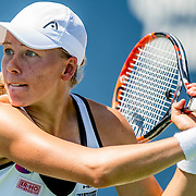 August 24, 2016, New Haven, Connecticut: <br /> Johanna Larsson of Sweden in action during Day 6 of the 2016 Connecticut Open at the Yale University Tennis Center on Wednesday, August  24, 2016 in New Haven, Connecticut. <br /> (Photo by Billie Weiss/Connecticut Open)