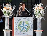 Mercedes Diaz Ramirez comments during a ceremony to rename Jackson Middle School to Navarro Middle School in honor of Yolanda Black Navarro, October 5, 2016.