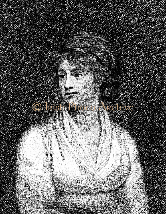 Mary Wollstonecraft (1759-1797) English teacher, writer and feminist. Married William Godwin (1756-1836) in 1797. Mother of Mary Shelley (1797-1851). After portrait by English painter John Opie (1761-1807). Stipple engraving.