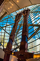 "World Trade Center tridents, recovered from WTC site after September 11, 2001. Each of these steel columns is the base of a ""trident,"" the three-branched architectural element that gave the Twin Towers their distinctive lower facades. These are two of 84 that formed the structural perimeter of the North Tower.. National September 11 Memorial & Museum, New York, New York USA."
