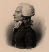 Maximilien Marie Isidore de Robespierre (1758-1794) French Revolutionary leader who for a short while in 1794 reigned supreme. At the end of July his power crumbled and he was overthrown and sent to the guillotine on 28 July. Engraving.