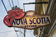 Lobster sign on a store in the old Town Lunenburg, Unesco world heritage sight, Nova Scotia, Canada, USA