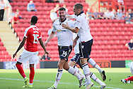 Bolton Wanderers forward Gary Madine (14) celebrates after scoring a goal scores a goal 0-1 during the EFL Sky Bet Championship match between Charlton Athletic and Bolton Wanderers at The Valley, London, England on 27 August 2016. Photo by Matthew Redman.
