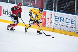 Armin Helfer vs AVSENIK Urban during Alps Hockey League match between HC Pustertal and HDD SIJ Jesenice, on April 3, 2019 in Ice Arena Podmezakla, Jesenice, Slovenia. Photo by Peter Podobnik / Sportida