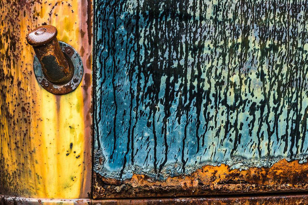 Old abandoned truck, rain droplets streaking, October, Upper Peninsula, Michigan, USA
