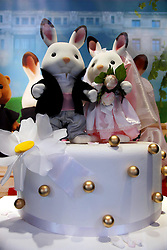 22 April 2011. London, England..A window display at Hamley's toy store featuring a rabbit celebration of the upcoming Royal wedding. Hamleys is perhaps the most famous toy shop in the world on London's Regent Street in the heart of London's West End. .Photo; Charlie Varley.