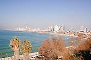 Israel, Tel Aviv coastline as seen from Jaffa