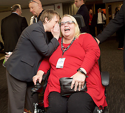 Labour Conference, Brighton, Great Britain <br /> 28th September 2015 <br /> <br /> Councillor Candy Atherton <br /> from Truro & Falmouth <br /> who earlier got stuck on stage in her wheelchair <br /> with Maria Eagle MP <br /> <br /> <br /> Photograph by Elliott Franks <br /> Image licensed to Elliott Franks Photography Services