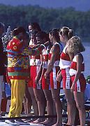 Barcelona, SPAIN.  CAN W8+ gold medalist, Brenda Susan TAYLOR, Jennifer Kirsten BARNES, Jessica MONROE, Kathleen HEDDLE, Kay Frances WORTHINGTON, Cox, Lesley Allison THOMPSON, Marnie Elizabeth MCBEAN, Megan Catherine DELEHANTY, Shannon CRAWFORD.  Anita DeFrantz presenting the medals [ Marnie MACBEAN]  1992 Olympic Rowing Regatta Lake Banyoles, Catalonia [Mandatory Credit Peter Spurrier/ Intersport Images]