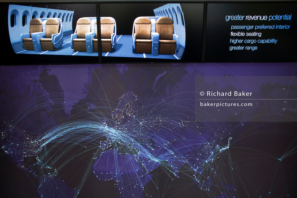 Boeing ad presentation of their 787 Dreamliner in their chalet at the the Farnborough Airshow.