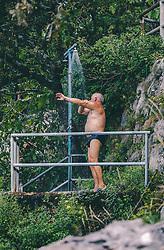 THEMENBILD - ein Mann duscht sich nach einem Bad in der Adria, aufgenommen am 13. August 2019 in Rijeka, Kroatien // a man takes a shower after a bath in the Adriatic Sea in Rijeka, Croatia on 2019/08/13. EXPA Pictures © 2019, PhotoCredit: EXPA/ JFK