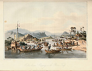 Cochinchinese Shipping on the River Fai-Foo From the book A voyage to Cochinchina, in the years 1792 and 1793. To which is annexed an account of a journey made in the years 1801 and 1802, to the residence of the chief of the Booshuana nation by Sir John Barrow, 1764-1848 Published in London in 1806 by T. Cadell and W. Davies