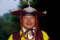 Man wearing local magistrate costume, Korean Folk Village, near Suwon, South Korea