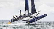 The Swedish Artemis Racing Team in action off Portsmouth on the first day of the America's Cup World Series which runs until Sunday. <br /> The world's oldest sporting trophy has not been contested in British waters until now.<br /> Ainslie's team hope to wrestle it back from the current holders Oracle Team USA.<br /> Picture date: Wednesday July 2, 2014.<br /> Photograph by Christopher Ison ©<br /> 07544044177<br /> chris@christopherison.com<br /> www.christopherison.com