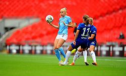 Chloe Kelly of Manchester City Women tries to control the ball whilst under pressure from Guro Reiten of Chelsea Women- Mandatory by-line: Nizaam Jones/JMP - 29/08/2020 - FOOTBALL - Wembley Stadium - London, England - Chelsea v Manchester City - FA Women's Community Shield