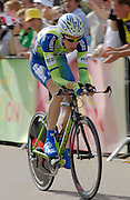 London 7th July 2007: Liquigas' Charles Wegelius (#158) finished 91st overall at 56 seconds in the opening prologue of the 2007 Tour de France cycling race.