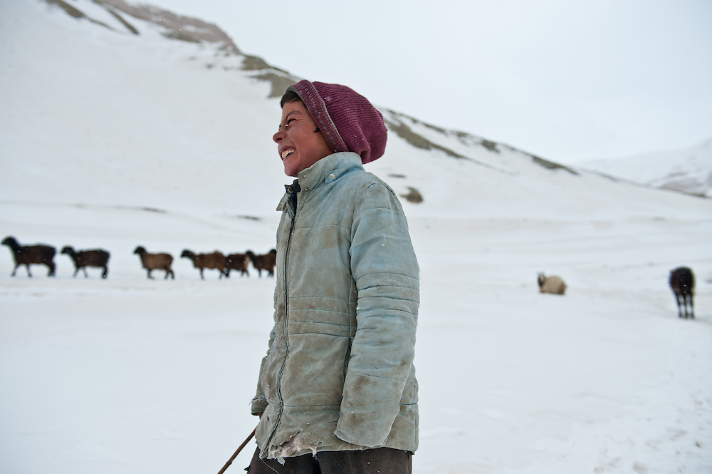 A shepherd boy with his flock on the path between Band-e Amir and Koh-e Kanak.