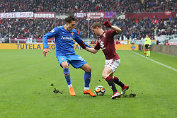 March 18, 2018 - Turin, Piedmont, Italy - Cristian Ansaldi and Federico Chiesa (ACF Fiorentina) compete for the ball during the Serie A football match between Torino FC and ACF Fiorentina at Olympic Grande Torino Stadium on 18 March, 2018 in Turin, Italy. Final results: 1-2  (Credit Image: © Massimiliano Ferraro/NurPhoto via ZUMA Press)