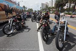 "Frank Hilton, Brad Gregory and ""Moonshiner Josh"" Owens with his dog ""Cutie Pie"" riding their 2005 Harley-Davidson Softail during Daytona Beach Bike Week 2015. FL, USA. March 13, 2015.  Photography ©2015 Michael Lichter."