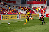Watford forward Joseph Hungbo (7) on the ball during the EFL Sky Bet Championship match between Brentford and Watford at Brentford Community Stadium, Brentford, England on 1 May 2021.