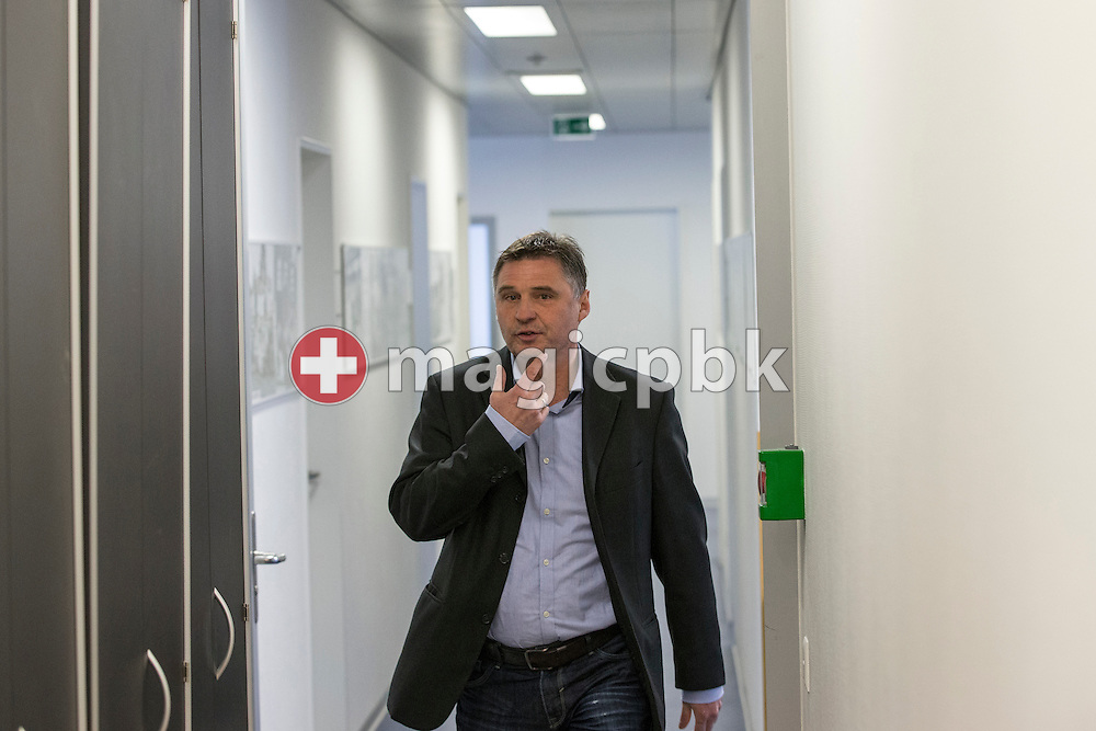 Sporting director Axel Thoma on his way to a press conference of Super League (National League A) soccer team Grasshopper Club Zuerich (GCZ) held at the GC Campus in Niederhalsi, Switzerland, Friday, Feb. 6, 2015. (Photo by Patrick B. Kraemer / MAGICPBK)