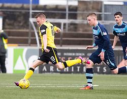 Edinburgh City's Derek Riordan shots. Forfar Athletic 1 v 2 Edinburgh City, Scottish Football League Division Two played 11/3/2017 at Station Park.