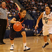 Rachel Coffey, Syracuse, dribbles past Bria Hartley, Connecticut, during the Connecticut V Syracuse Semi Final match during the Big East Conference, 2013 Women's Basketball Championships at the XL Center, Hartford, Connecticut, USA. 11th March. Photo Tim Clayton