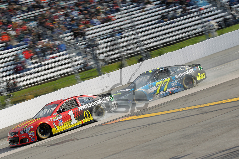 October 29, 2017 - Martinsville, Virginia, USA: Jamie McMurray (1) gets pushed by Erik Jones (77) during the First Data 500 at Martinsville Speedway in Martinsville, Virginia.