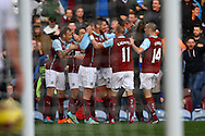 Burnley's Danny Ings celebrates with his teammates after scoring his teams 1st goal. Barclays Premier league match, Burnley v Everton at Turf Moor in Burnley, Lancs on Sunday 26th October 2014.<br /> pic by Chris Stading, Andrew Orchard sports photography.
