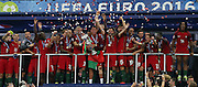 Portugal Forward Cristiano Ronaldo holds the trophy during the Euro 2016 final between Portugal and France at Stade de France, Saint-Denis, Paris, France on 10 July 2016. Photo by Phil Duncan.
