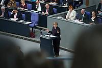 17 FEB 2016, BERLIN/GERMANY:<br /> Angela Merkel (M), CDU, Budneskanzlerin, waehrend ihrer Regierunsgerklaerung der zum Europaeischen Rat, Plenum, Deutscher Bundestag<br /> IMAGE: 20160217-03-020<br /> KEYWORDS: Debatte, Rede, speech