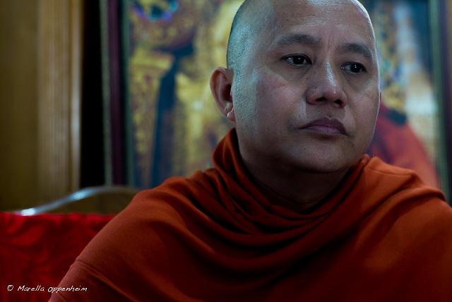 Portrait of Ashin Wirathu, controversial Myanmar Buddhist monk, in his compound in the Maesoeyn Monastery, Mandalay, Nov 2016.