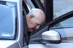 October 10, 2018 - Leeds, Yorkshire, UK - Leeds UK. Former police officer 83 year old David Lomax arrives at Leeds Crown Court this morning. Lomax is accused of raping a woman in 1978 because she was unable to pay a fine. Lomax was in his 40's at the time & worked as a warrant officer with West Yorkshire Police. It is alleged that David Lomax had gone to the woman's address two weeks before the alleged offence to collect payment but had agreed to give her extra time to find the money. He then allegedly returned to on the 20th October but the woman was still unable to pay. The court heard Mr Lomax had told the woman he would have to take her to the police station but then put his hand on her shoulder and said: ''Well we could solve this.'' He then allegedly led the woman into her bedroom & raped her against a wall before leaving. The court heard the woman reported it to police several days later and a DNA sample was retrieved from a towel. Jurors at Leeds Crown Court were told Mr Lomax, was charged after his DNA profile was matched in a cold case review in 2016. (Credit Image: © Andrew Mccaren/London News Pictures via ZUMA Wire)