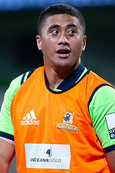 March 1, 2019 - Victoria, VIC, U.S. - MELBOURNE, AUSTRALIA - MARCH 01: Marino Mikaele-Tu'u (20) of the Highlanders looks on as he warms up on the pitch at The Super Rugby match between Melbourne Rebels and Highlanders on March 01, 2019 at AAMI Park, VIC. (Photo by Speed Media/Icon Sportswire) (Credit Image: © Speed Media/Icon SMI via ZUMA Press)